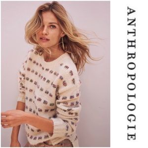 Anthropologie Metallic Check Sweater MOTH